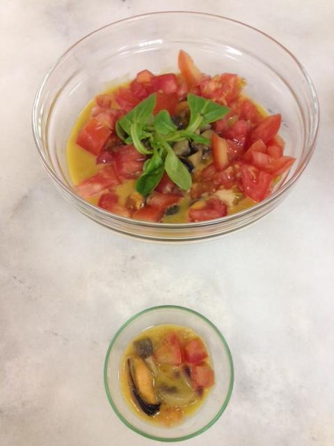 Mejillones marinados con crema de azafrán con Thermomix®