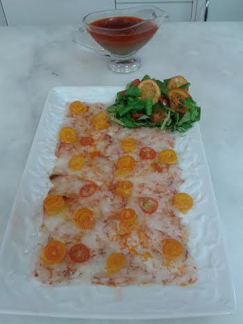 Carpaccio de gambón con kumquats caramelizados con Thermomix®