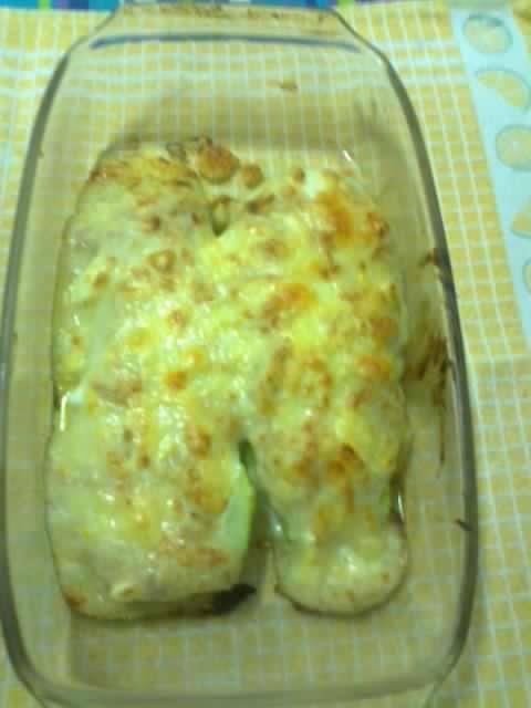 Calabacín relleno de masa de croquetas y queso fundido con Thermomix®
