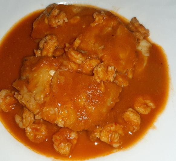 Merluza en salsa de gambas